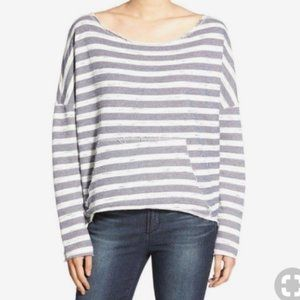Project Social T Raw Hem Striped Sweatshirt. Sz M